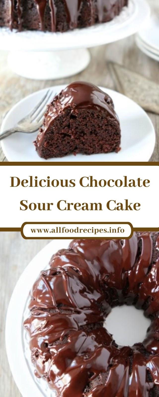 Delicious Chocolate Sour Cream Cake