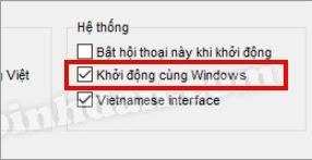 Khởi động unikey cùng Windows