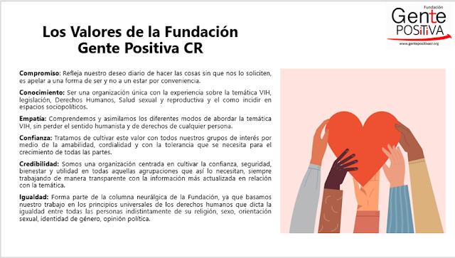 Foto con los valores de la fundación con pequeña descripción