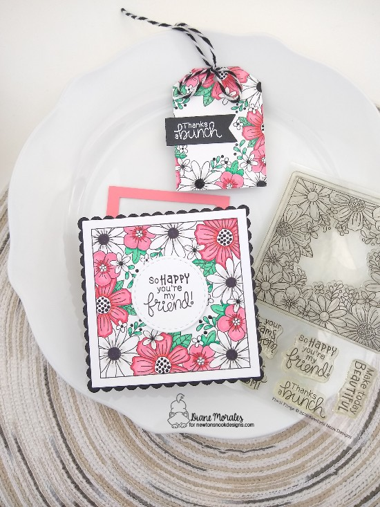 So happy you're my friend by Diane features Floral Fringe, Frames Squared, and Fancy Edges Tag by Newton's Nook Designs; #newtonsnook