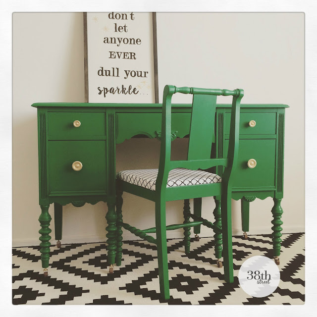 diy, painted chair and desk, emerald green, gold hardware, vintage desk, antique desk