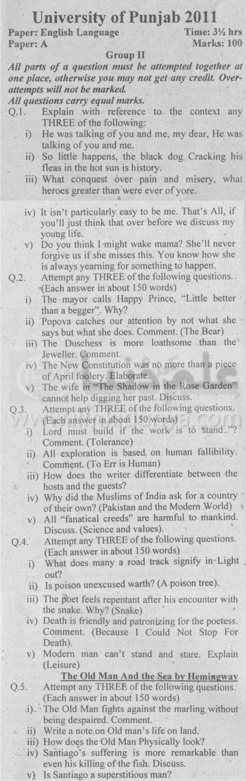 Punjab University English Past Papers 2011 (Paper A & Paper B)