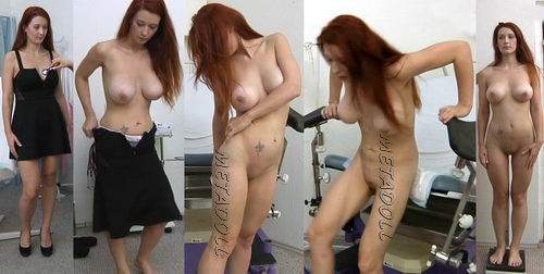 Gyno-clinic - Red-haired girl with big boobs on a gynecological examination (Isabella Livi)