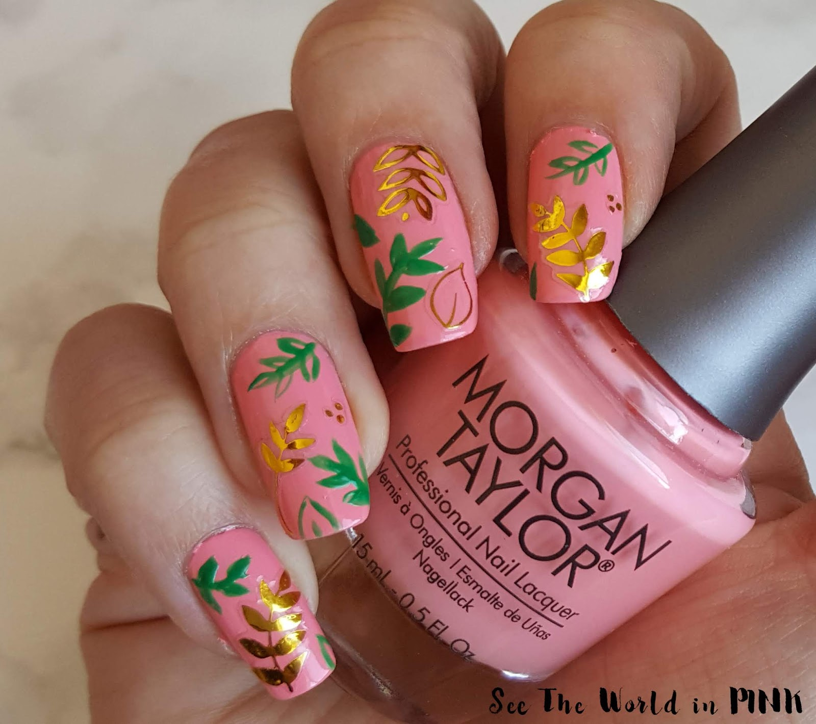 Manicure Monday - Green and Gold Foliage Nails!