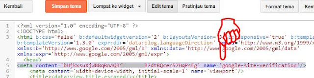 Contoh penempatan kode verifikasi Google webmaster
