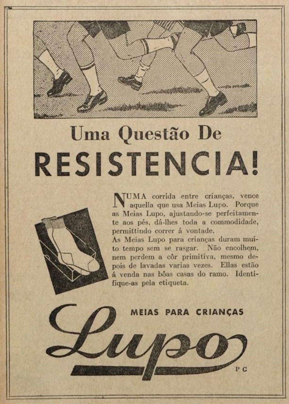 Anúncio antigo promovia as meias Lupo para crianças em 1938