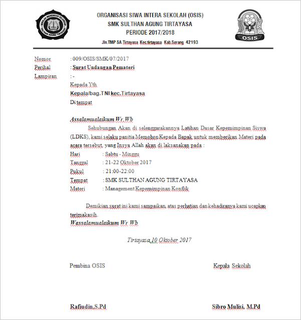 Contoh Surat Permohonan Menjadi Materi Narasumber