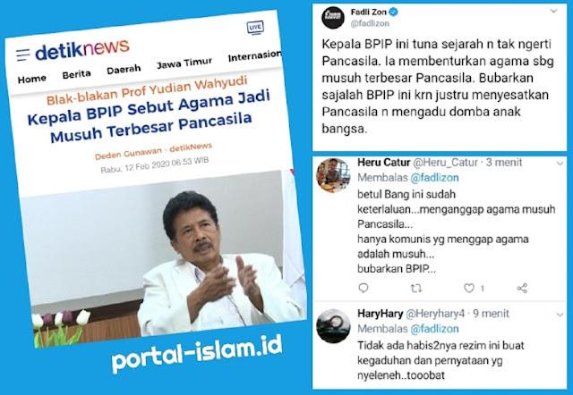 Fadli Zon Serukan Bubarkan BPIP, Netizen: Hanya Komunis Yang Menganggap Agama adalah Musuh