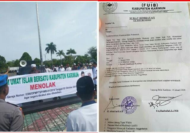 Puluhan Umat Islam Desak Bupati Karimun Tegakkan Aqidah & Batalkan IMB Gereja Paroki Khatolik Santo Joseph