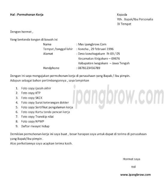 download surat lamaran kerja doc