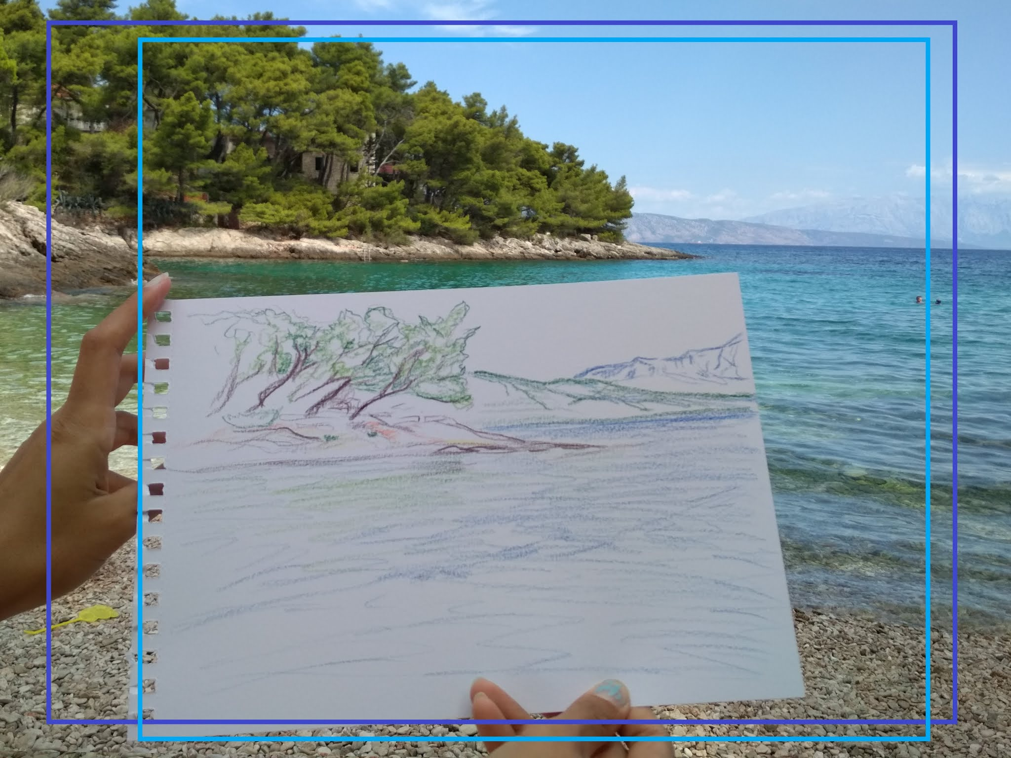 TWO NEW SEASCAPES: WATERCOLOUR PENCIL ON PAPER (JELSA, ISLAND HVAR) #modaodaradosti