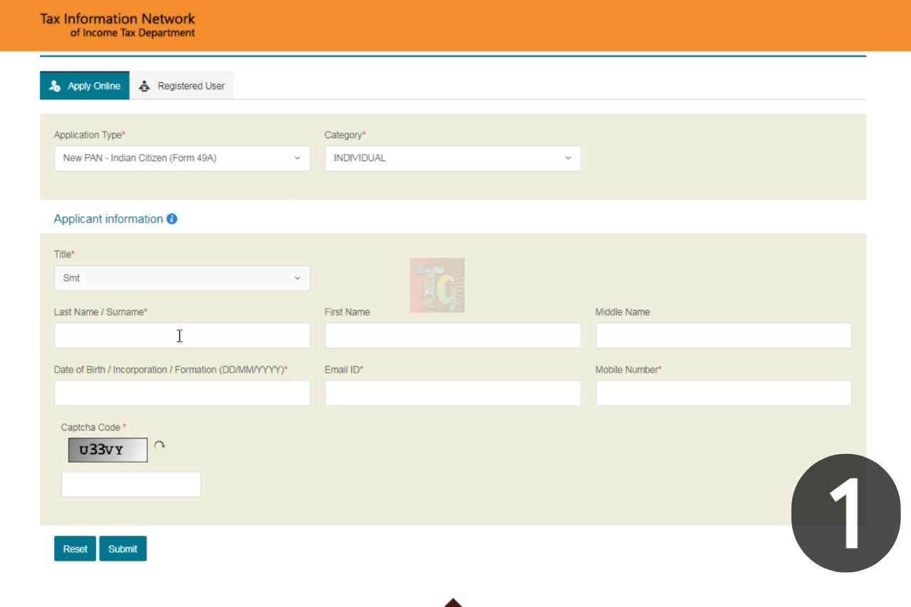 Submit PAN card application Form on NSDL website