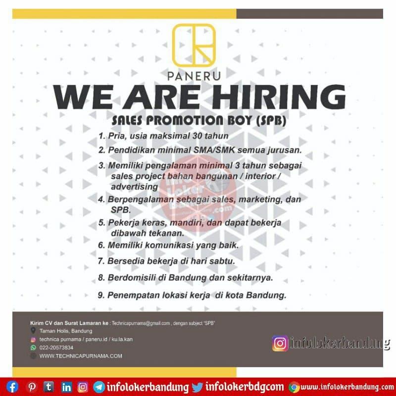 Lowongan Kerja Sales Promotion Boy (SPB) Paneru Bandung Juni 2021