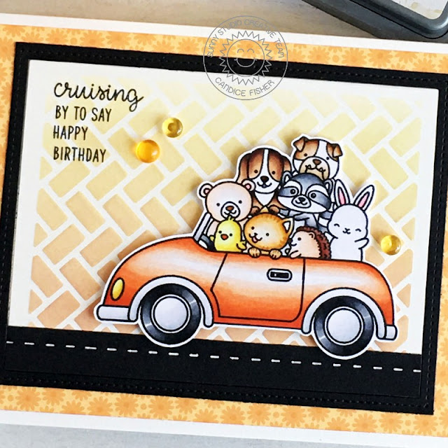 Sunny Studio Stamps: Frilly Frame Dies Cruising Critters Birthday Card by Candice Fisher