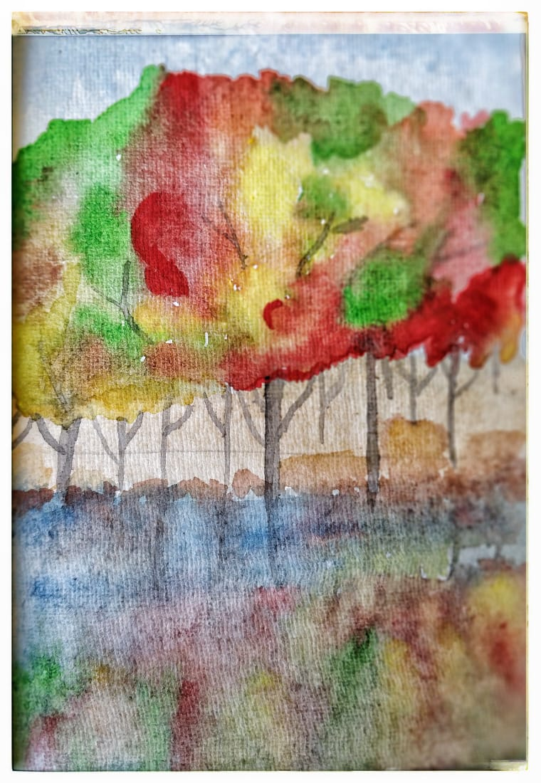 Water Painting : Colours in Tree