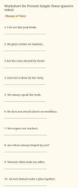 Worksheet Present Simple Tense passive voice
