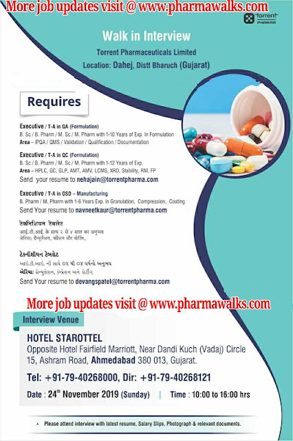 Torrent Pharmaceuticals walk-in interview for multiple positions in QA / QC / Manufacturing on 24th Nov' 2019 @ Ahmedabad