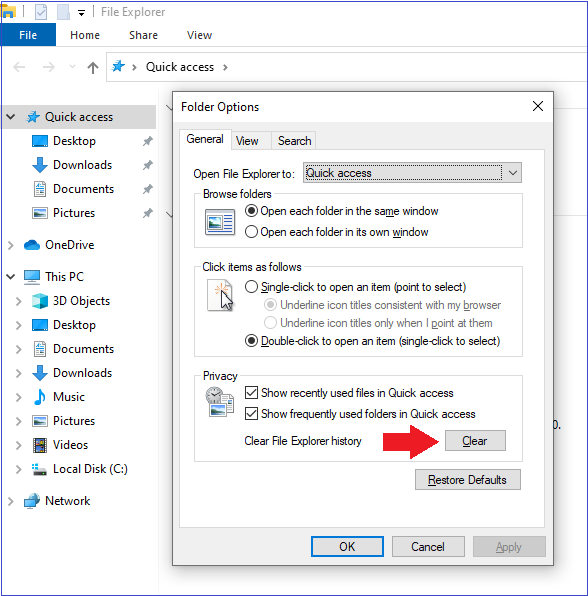 Clear Your File Manager history