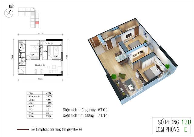 Thiết kế căn hộ 12B tòa CT2 Eco Green City