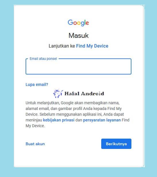 Masuk ke Email Untuk Melacak HP Hilang dengan IMEI di Find My Devices