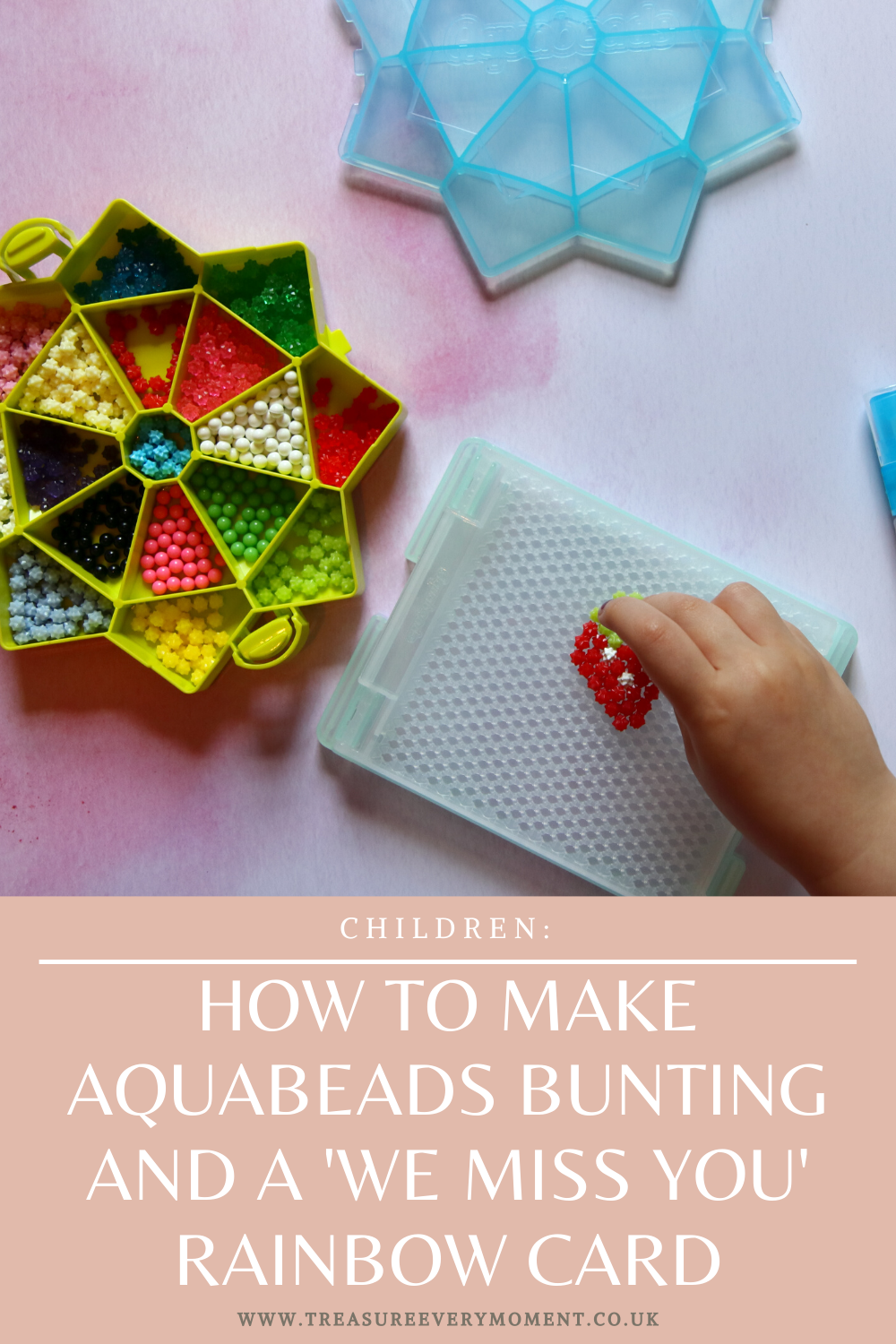 CHILDREN: How to Make Aquabeads Bunting and a 'We Miss You' Rainbow Card