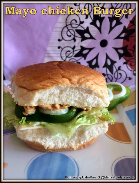 Open-Face Chicken Burger with mayonnaise | Burger with chicken and ...