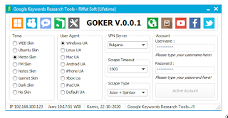 Menu Setting Goker Keyword Research and Suggestion Tools