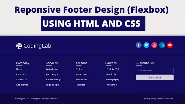 responsive footer html css
