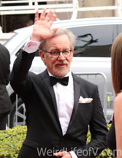 Steven Spielberg waving to the fans