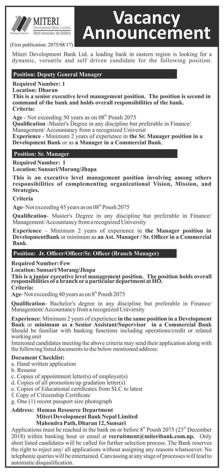 Vacancy Announcement from Miteri Development Bank Ltd.