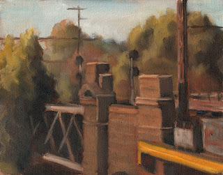 Oil painting of a bluestone and steel truss bridge surrounded by trees.