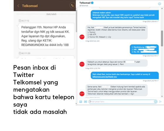 Keluhan kepada telkomsel melalui pesan di Twitter