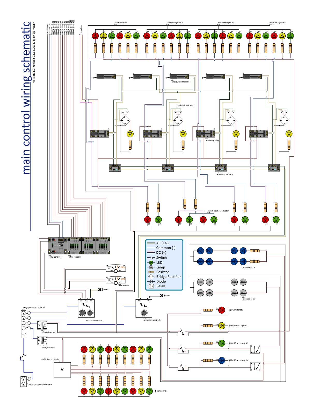 completed model train control panel wiring schematic for ty s model railroad [ 1236 x 1600 Pixel ]