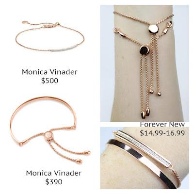 Monica Vinader Fiji Chain Bracelet Skinny Short Bar Forever New Spencer Tassel Chain Bracelet Marnie CZ Chain Bracelet look for less budget fashion high end high street designer dupe