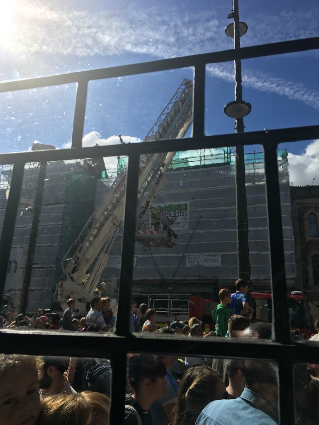 City-Of-The-Unexpected-Cardiff-Celebrates-Roald-Dahl-crowds-and-fire-engine-ladder-extended