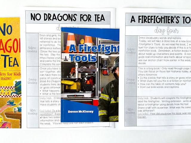 Looking for easy prep October Read Aloud Lessons?!  These October lessons plans contain anchor charts, scripted lessons plans, comprehension posters, student independent practice, exit tickets, crafts, vocabulary, and more.  These fun activities are perfect for learning about fiction and nonfiction text features and fire safety!