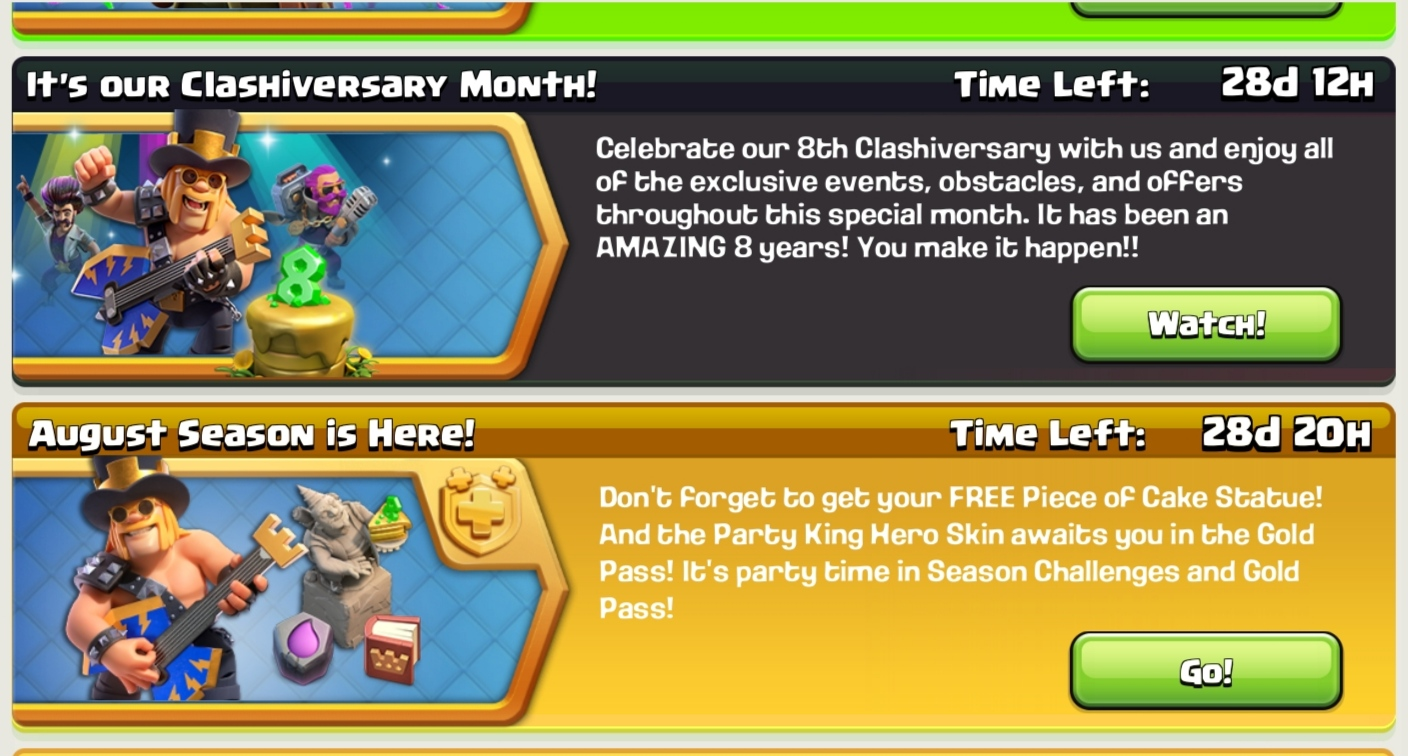 Clash Of Clans Gets 8 Years Old