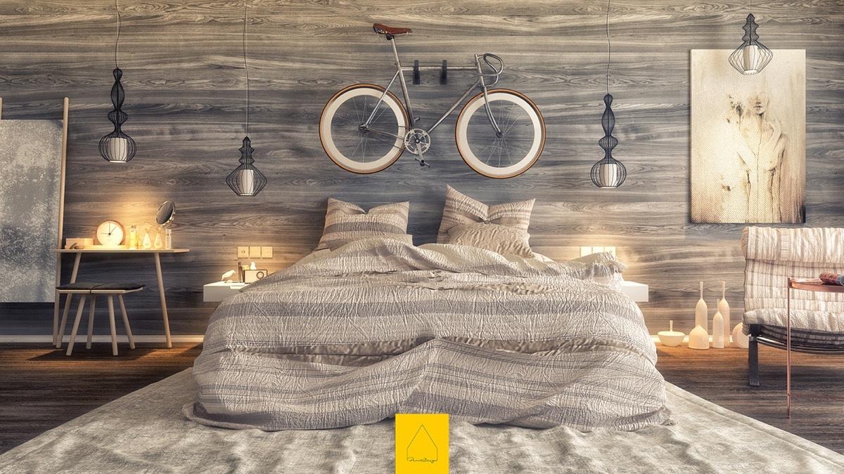40 Desain Dinding Kayu Kamar Tidur Bernuansa Elegan Rumahku Unik # Meuble Tv Ypster