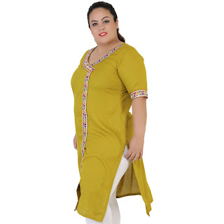 Green Solid Rayon Kurti for Women's