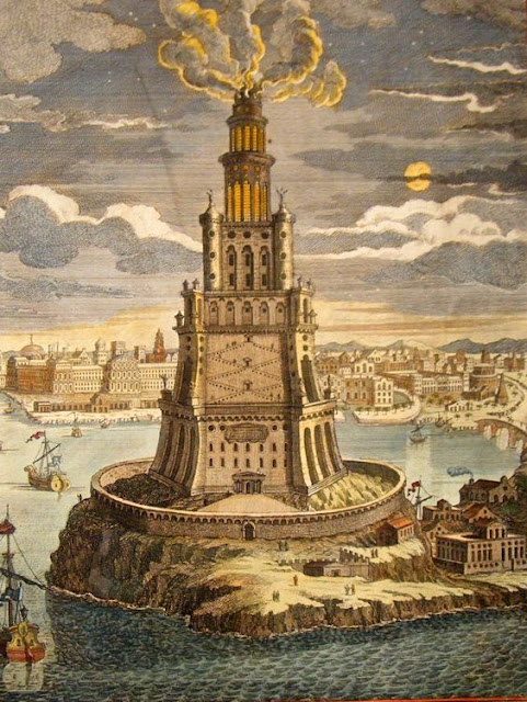 """The Lighthouse of Alexandria, sometimes called the Pharos of Alexandria"" ""Old Steampunk Engine House by Robert Filip"""