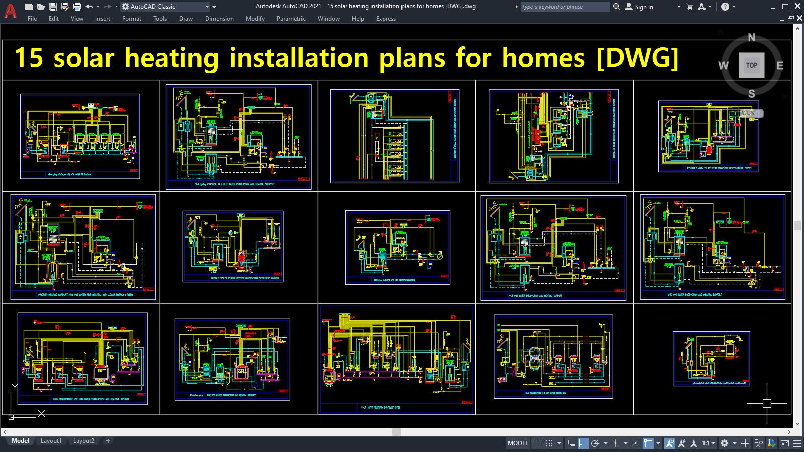 15 solar heating installation plans for homes [DWG]