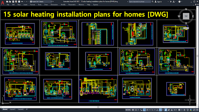 15 Solar Heating Installation Plans [DWG]