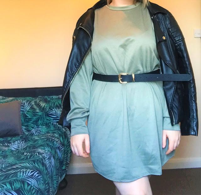 Femme Luxe Khaki Oversized Sweater Dress - Ola