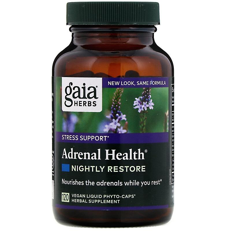 Gaia Herbs, Adrenal Health, для ночного восстановления, 120 веганских жидких капсул Phyto-Cap