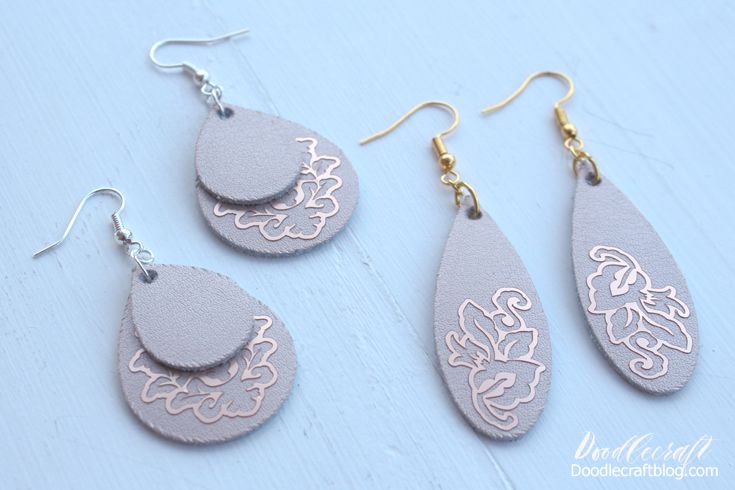 Repurposed Silver Foil Leather and Chain Link Earrings