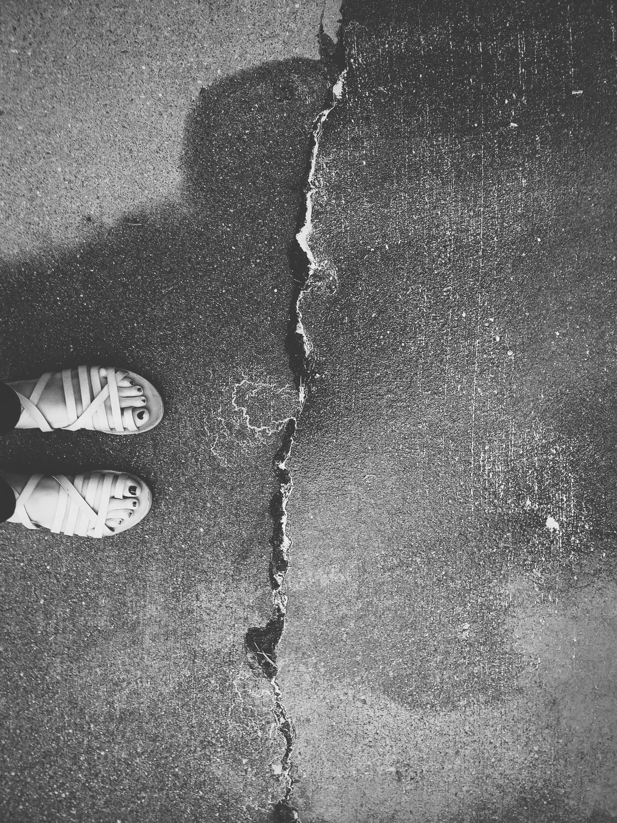 sidewalk crack with pollen // life in black & white series // www.thejoyblog.net