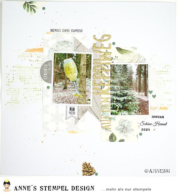 Winterliches Scrapbookinglayout - Fotos mit Motivpapier und Textstempeln von Annes Stempel-Design in Szene gesetzt
