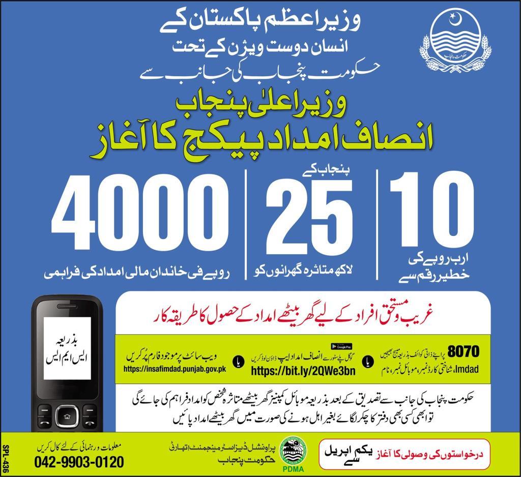 Insaf Imdad Package 2020, Online Application
