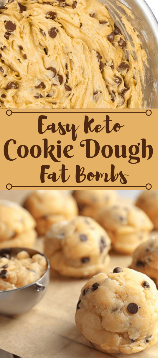 Keto Chocolate Chip Cookie Dough Fat Bombs #healthydiet #keto #paleo #glutenfree #cookies