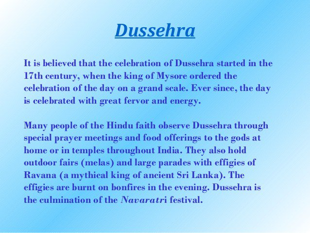 Dussehra essay in English for class 3